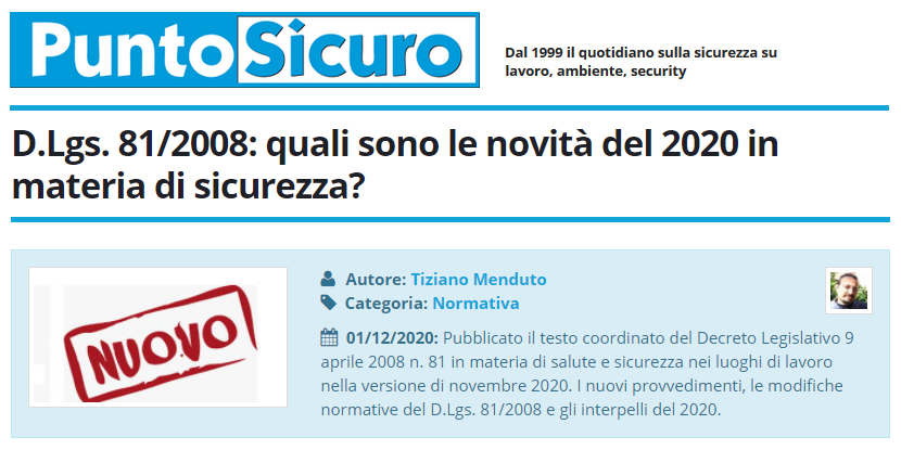 PuntoSicuro - D.Lgs. 81/2008: quali sono le novità del 2020 in materia di sicurezza?