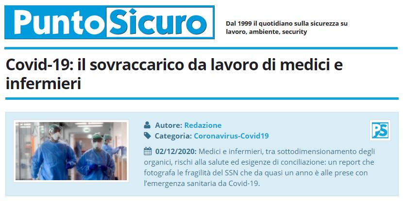 PuntoSicuro - Covid-19: il sovraccarico da lavoro di medici e infermieri