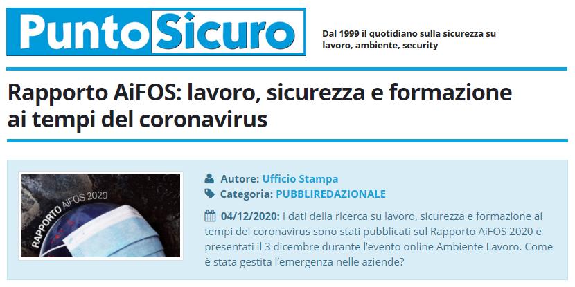 PuntoSicuro - Rapporto AiFOS: lavoro, sicurezza e formazione ai tempi del coronavirus