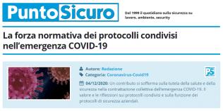 PuntoSicuro - La forza normativa dei protocolli condivisi nell'emergenza COVID-19