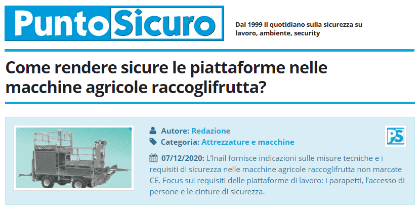 PuntoSicuro - Come rendere sicure le piattaforme nelle macchine agricole raccoglifrutta?