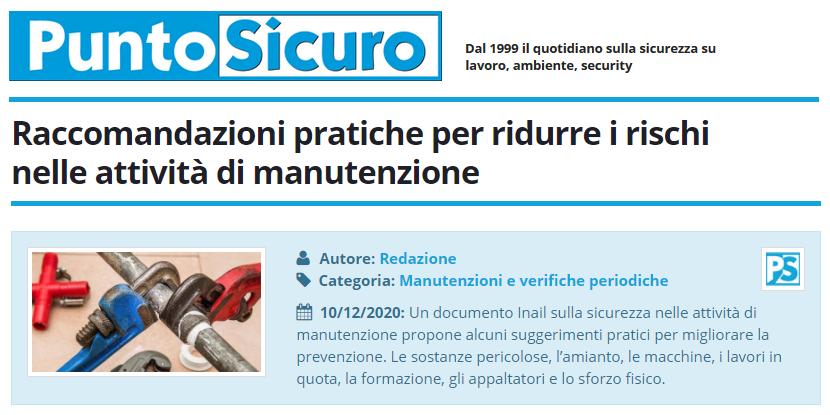 PuntoSicuro - Raccomandazioni pratiche per ridurre i rischi nelle attività di manutenzione
