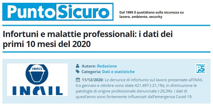 PuntoSicuro - Infortuni e malattie professionali: i dati dei primi 10 mesi del 2020