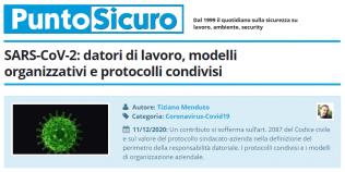 PuntoSicuro - SARS-CoV-2: datori di lavoro, modelli organizzativi e protocolli condivisi