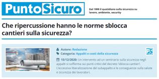 PuntoSicuro - Che ripercussione hanno le norme sblocca cantieri sulla sicurezza?
