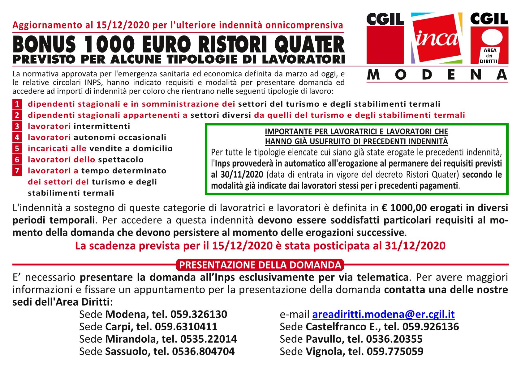 Indennità una tantum - Decreto Ristori quater e circolare Inps n. 146
