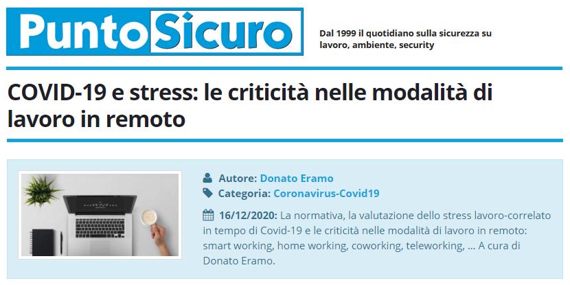 PuntoSicuro - COVID-19 e stress: le criticità nelle modalità di lavoro in remoto