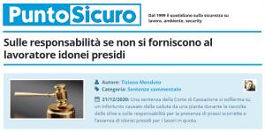 PuntoSicuro - Sulle responsabilità se non si forniscono al lavoratore idonei presidi