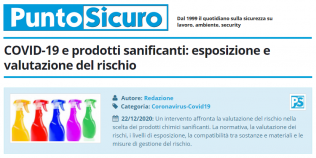 PuntoSicuro - COVID-19 e prodotti sanificanti: esposizione e valutazione del rischio
