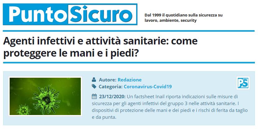 PuntoSicuro - Agenti infettivi e attività sanitarie: come proteggere le mani e i piedi?