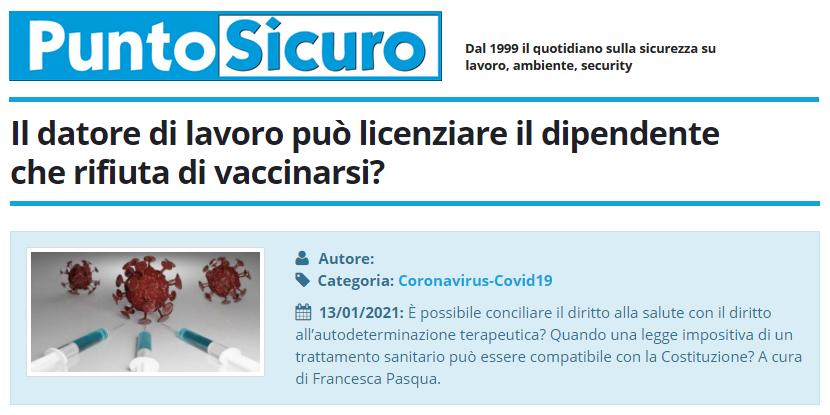 PuntoSicuro - Il datore di lavoro può licenziare il dipendente che rifiuta di vaccinarsi?