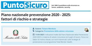 PuntoSicuro - Piano nazionale prevenzione 2020 - 2025: fattori di rischio e strategie