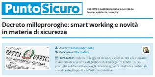 PuntoSicuro - Decreto milleproroghe: smart working e novità in materia di sicurezza