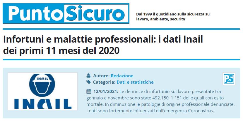 PuntoSicuro - Infortuni e malattie professionali: i dati Inail dei primi 11 mesi del 2020