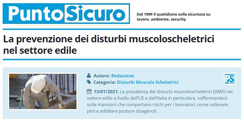 PuntoSicuro - La prevenzione dei disturbi muscoloscheletrici nel settore edile