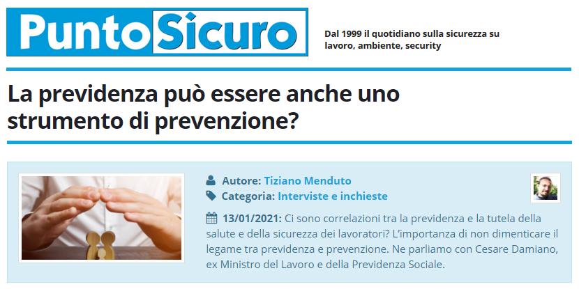 PuntoSicuro - La previdenza può essere anche uno strumento di prevenzione?