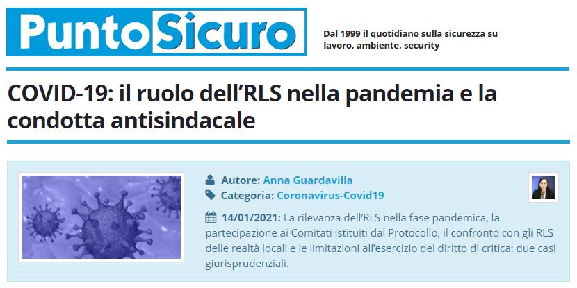 PuntoSicuro - COVID-19: il ruolo dell'RLS nella pandemia e la condotta antisindacale