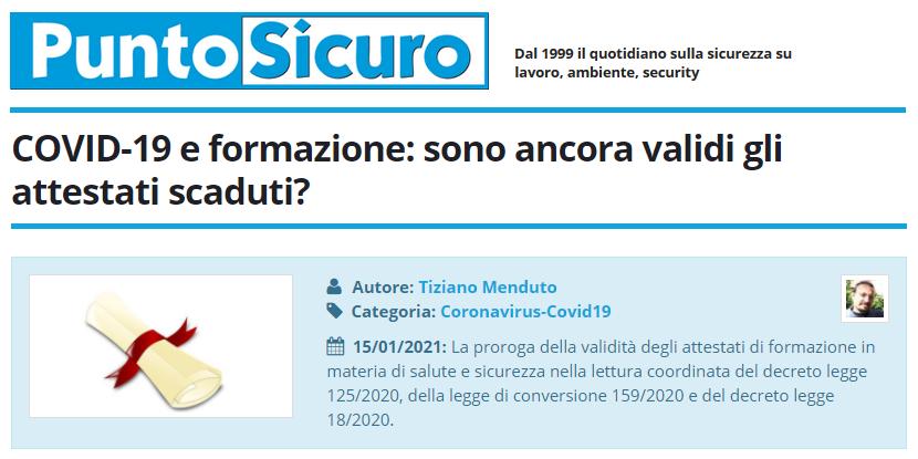 PuntoSicuro - COVID-19 e formazione: sono ancora validi gli attestati scaduti?