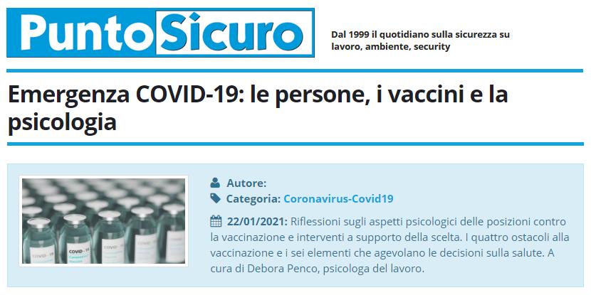 PuntoSicuro - Emergenza COVID-19: le persone, i vaccini e la psicologia