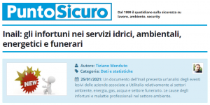 PuntoSicuro - Inail: gli infortuni nei servizi idrici, ambientali, energetici e funerari