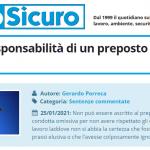 PuntoSicuro - Sulla non responsabilità di un preposto per un infortunio