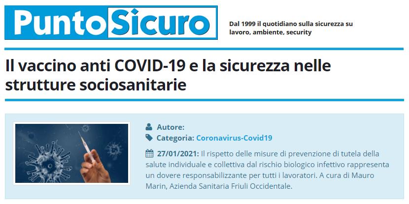 PuntoSicuro - Il vaccino anti COVID-19 e la sicurezza nelle strutture sociosanitarie