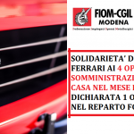 Solidarietà dei lavoratori Ferrari ai 4 operai in somministrazione lasciati a casa nel mesi di dicembre - 11/1/2021