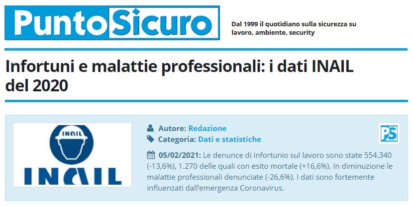 PuntoSicuro - Infortuni e malattie professionali: i dati INAIL del 2020