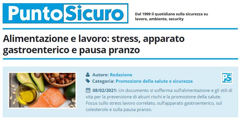 PuntoSicuro - Alimentazione e lavoro: stress, apparato gastroenterico e pausa pranzo