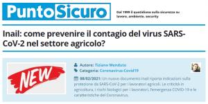 PuntoSicuro - Inail: come prevenire il contagio del virus SARS-CoV-2 nel settore agricolo?