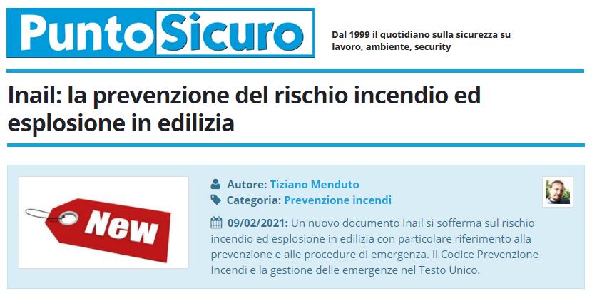 PuntoSicuro - Inail: la prevenzione del rischio incendio ed esplosione in edilizia