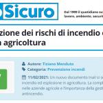 PuntoSicuro - Inail: prevenzione dei rischi di incendio ed esplosione in agricoltura