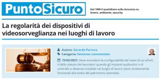 PuntoSicuro - La regolarità dei dispositivi di videosorveglianza nei luoghi di lavoro