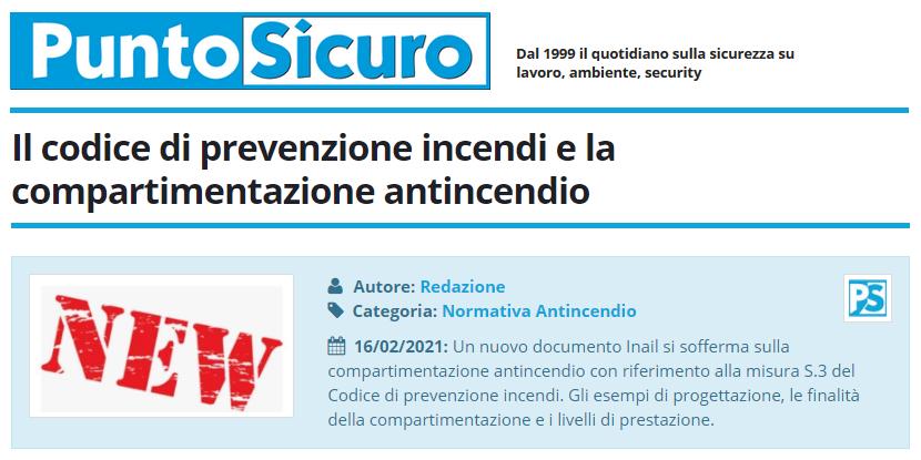 PuntoSicuro - Il codice di prevenzione incendi e la compartimentazione antincendio