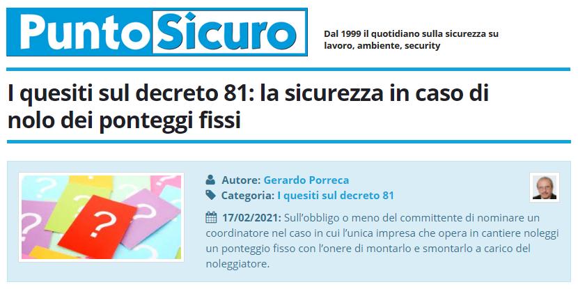 PuntoSicuro - I quesiti sul decreto 81: la sicurezza in caso di nolo dei ponteggi fissi