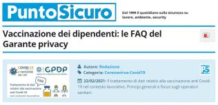 PuntoSicuro - Vaccinazione dei dipendenti: le FAQ del Garante privacy
