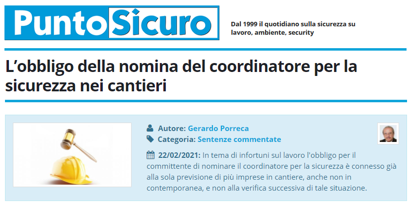 PuntoSicuro - L'obbligo della nomina del coordinatore per la sicurezza nei cantieri
