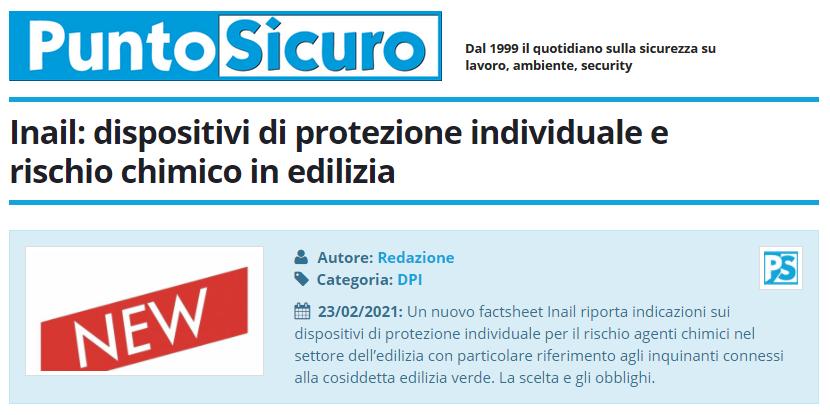 PuntoSicuro - Inail: dispositivi di protezione individuale e rischio chimico in edilizia