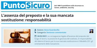 PuntoSicuro - L'assenza del preposto e la sua mancata sostituzione: responsabilità