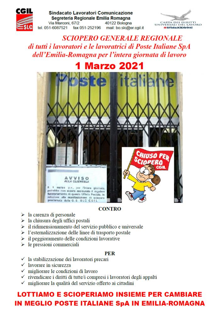Poste Italiane sciopero 1° marzo