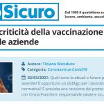 PuntoSicuro - COVID-19: le criticità della vaccinazione e i problemi nelle aziende