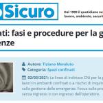 PuntoSicuro - Spazi confinati: fasi e procedure per la gestione delle emergenze