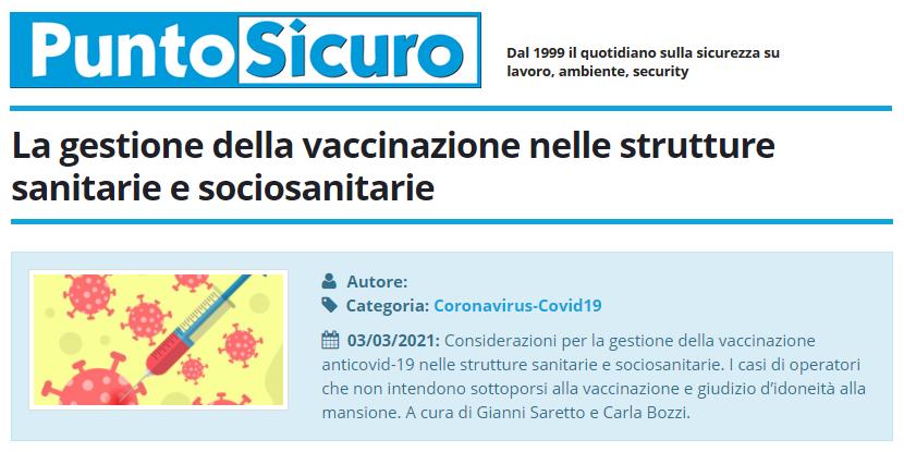 PuntoSicuro - La gestione della vaccinazione nelle strutture sanitarie e sociosanitarie