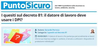 PuntoSicuro - I quesiti sul decreto 81: il datore di lavoro deve usare i DPI?