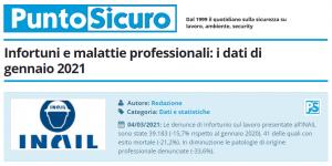 PuntoSicuro - Infortuni e malattie professionali: i dati di gennaio 2021