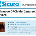 PuntoSicuro - L'impatto del nuovo DPCM del 2 marzo 2021 sul mondo del lavoro