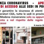 Emergenza sanitaria Coronavirus - Accesso alle sedi Cgil in Provincia di Modena