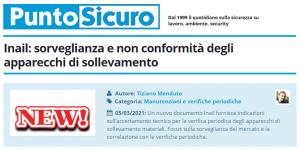 PuntoSicuro - Inail: sorveglianza e non conformità degli apparecchi di sollevamento