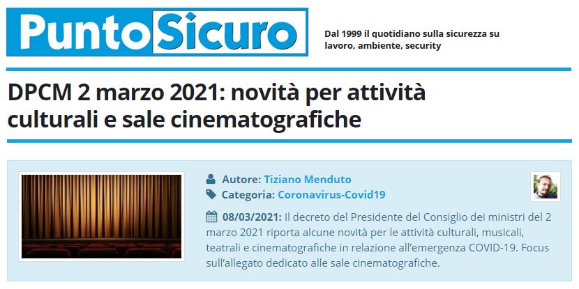 PuntoSicuro - DPCM 2 marzo 2021: novità per attività culturali e sale cinematografiche