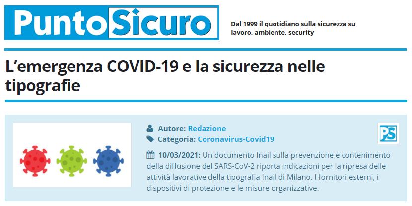 PuntoSicuro - L'emergenza COVID-19 e la sicurezza nelle tipografie